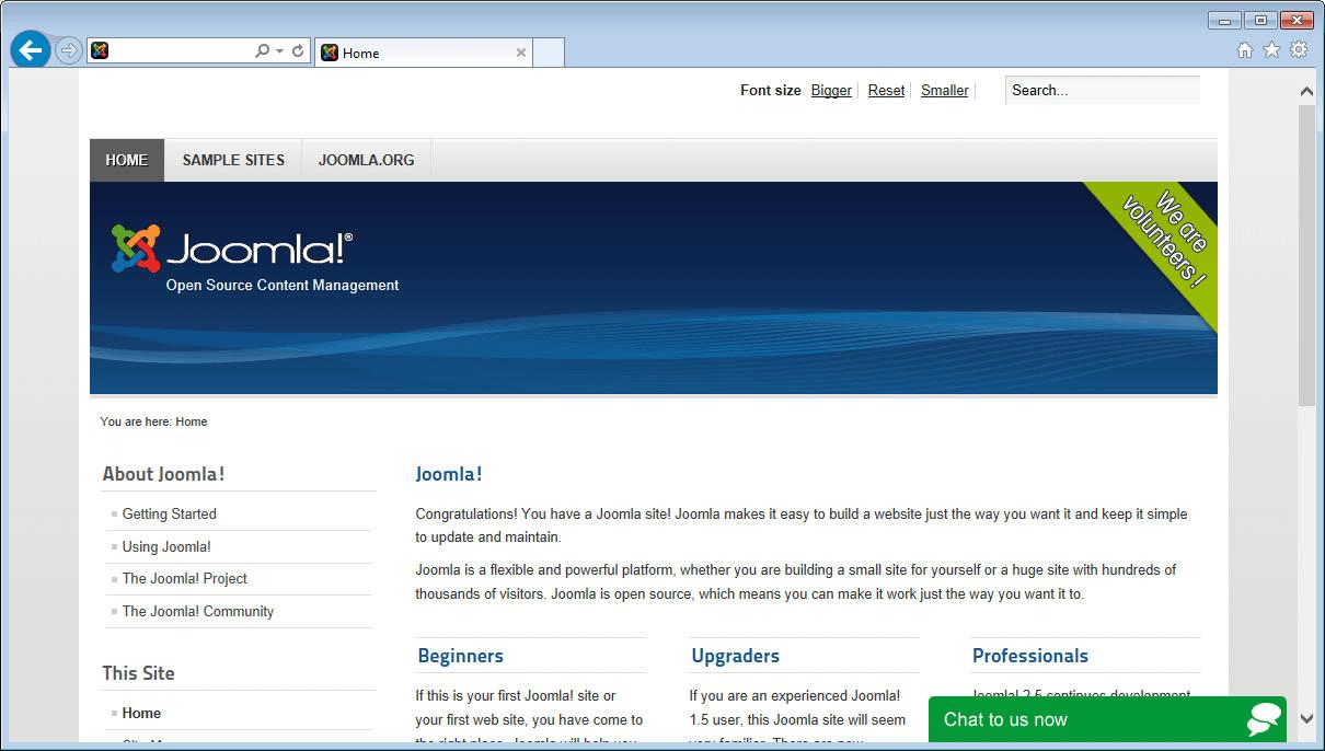 Live chat on joomla screenshot
