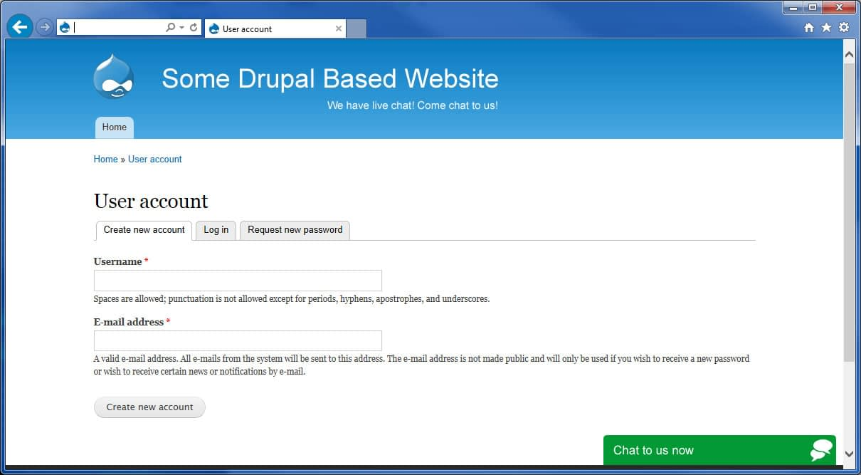 Drupal website with live chat